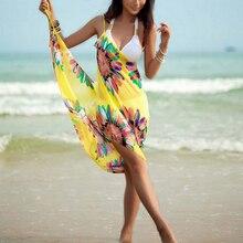 2019 femmes chaudes licou léger en mousseline de soie imprimé fleuri plage couvrir serviette soie plage Bikini mode dos ouvert robe de plage