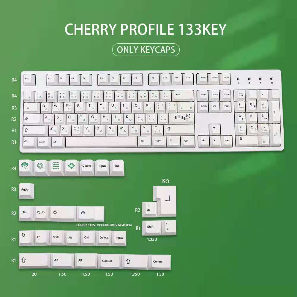 PBT 135 مفاتيح الكرز الشخصي صبغ الفرعية اليابانية Keycap السوشي الأبيض موضوع أسلوب الحد الأدنى مناسبة للوحة المفاتيح الميكانيكية
