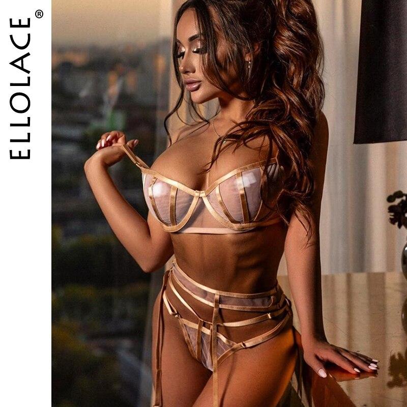 Ellolace Sexy Mesh Lingerie Underwear Set Women Transparent Bralette and Deep-V Push Up Sexy Bra Patry Set Bodycon Lingeries