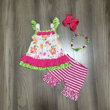 Tenues de printemps pour filles   Robe fleurie à pois, avec shorts à rayures roses et rouges, tenues dété avec accessoires