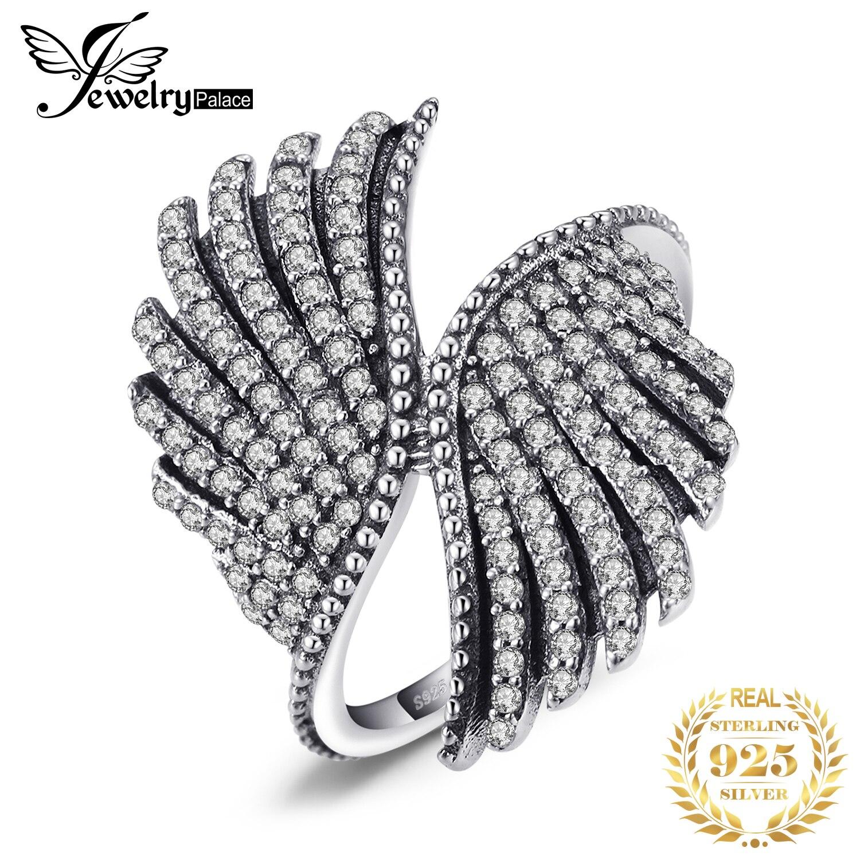 JewelryPalace 925 plata esterlina magnífico anillo de la pluma regalos para su aniversario moda joyería fina anillo elegante nueva llegada