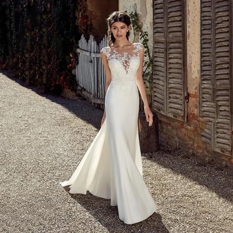 Promo Mermaid Wedding Dresses Satin With Floor Length Sleeveless O-neckelegant Lace Bride Dresses Button With Custom Made Plus Size