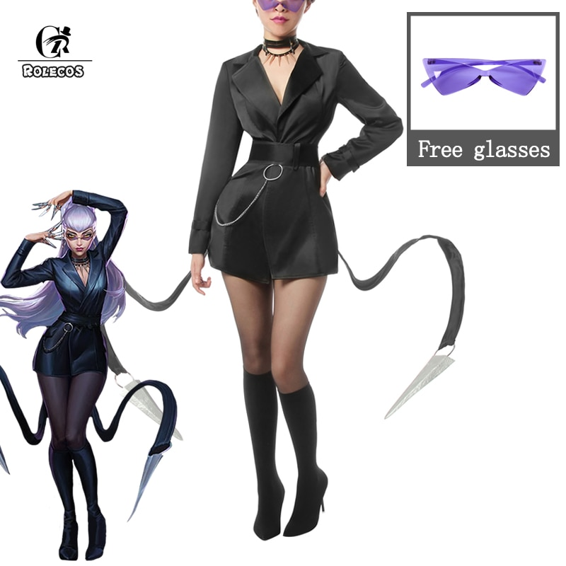 روليكوس بادست كدا إيفلين زي تأثيري LOL KDA تأثيري لعبة بادست إيفلين حلي بدلة مثيرة للنساء نظارات الهالوين