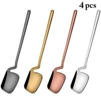 4 pcs dinnerware sets stainless steel coffee sugar mixing spoon metal fruit fork flatware set ice cream dessert scoop tableware