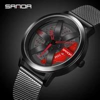 sanda luxury mens fashion casual wheel series dial watch top brand military quartz waterproof wristwatch relogio masculino 1061