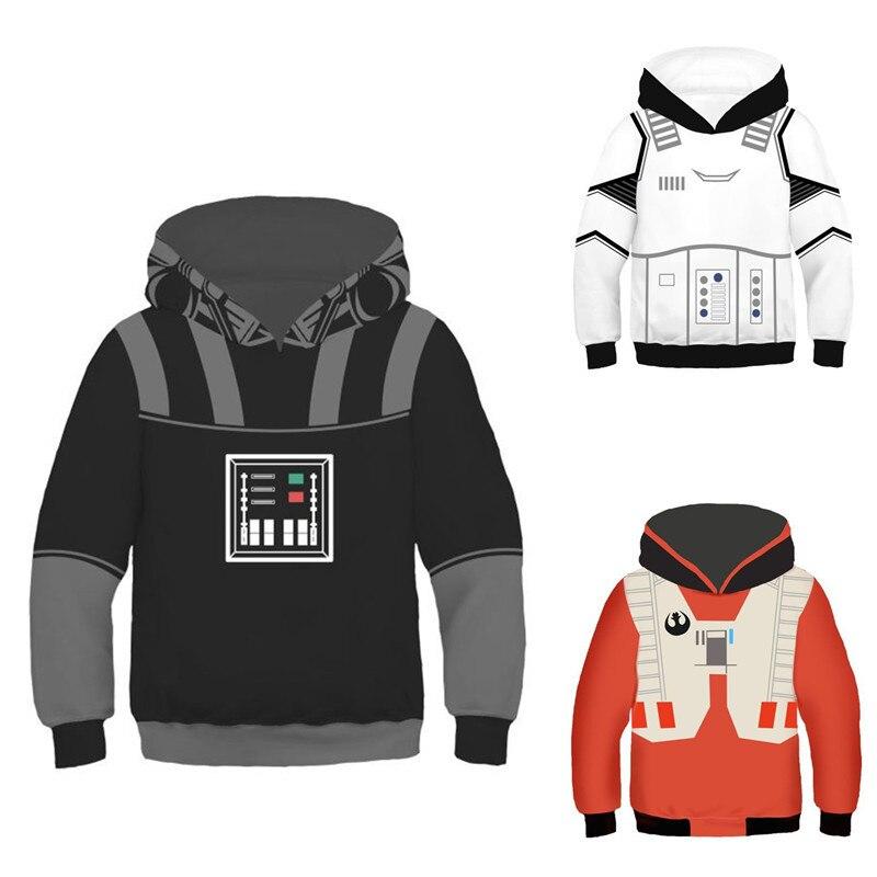 Sweatshirts star wars meninos meninas crianças hoodies poliéster crianças roupas de manga longa impressão trajes criança moletom com capuz