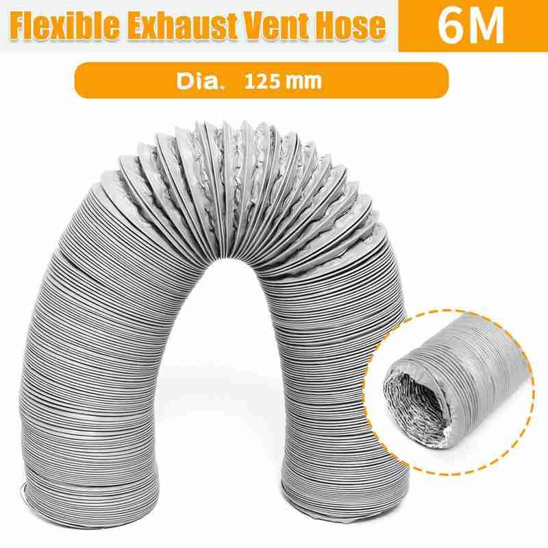 6M 125mm Air Conditioner Exhaust Pipe Flexible Spare Parts Vent Hose Lampblack Machine Aluminum Foil