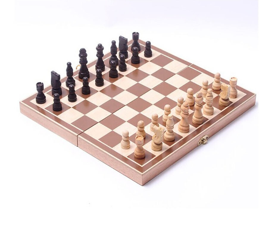 Wooden Chess Game 32-Piece Amusement Entertainment Chess Board Set Antique Foldable Lockable Indoor Portable Travel Chessman large mahjong portable wooden boxes set table game mah jong travelling board game indoor antique leather box english manual