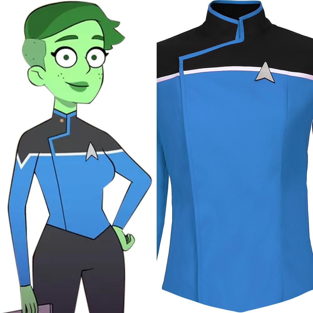 Звездный маскарадный костюм на нижних палубах, костюм для взрослых, Синяя Униформа, рубашка, топ, костюм на Хэллоуин, карнавальный костюм