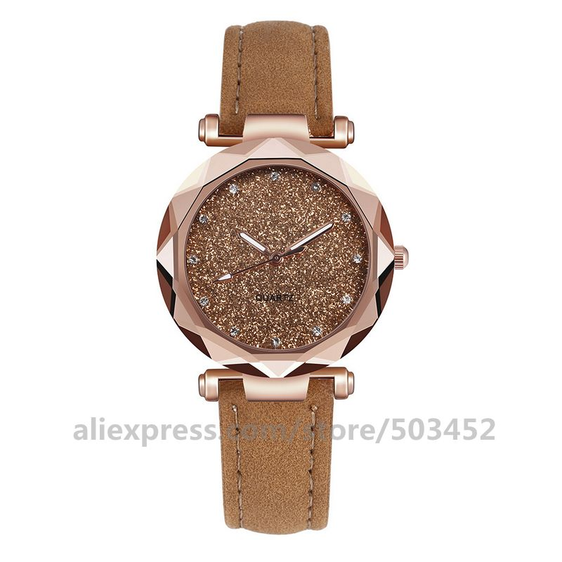 100pcs/lot Simple Women Watches Romantic Fashion Wrist Watch Designer Clock Simple Casual Lady Starry Sky Montre Femme enlarge