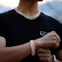 2020 new 19mm prong cuban link chain hip hop jewelry bracelets brass19mm 3 row diamond prong cuban in white gold chain bracelets