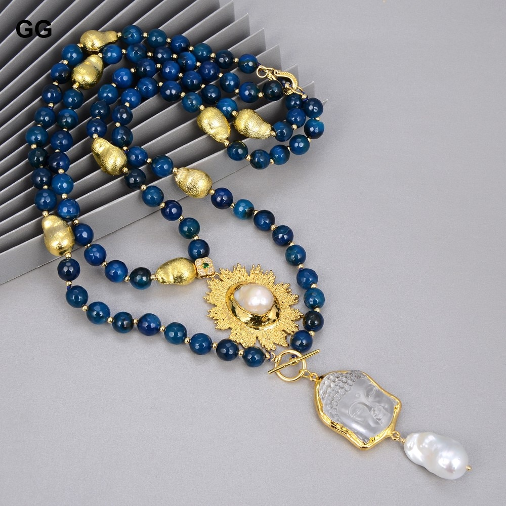 GG Jewelry 2 Strands Blue Agates Necklace Keshi Pearl Clear Quartz Buddha Head Pendant Necklace 20