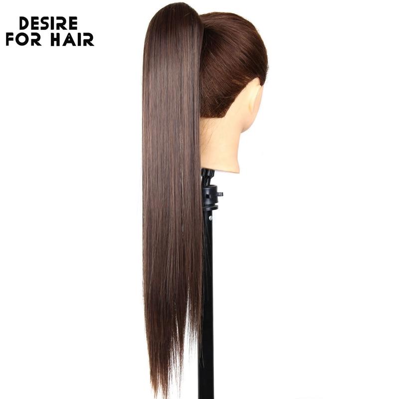 Desejo para o Cabelo Sedoso em Linha Reta de Alta Rabo de Cavalo com Garra Hairpiece para Mulher Polegada Longo Temperatura Cabelo Sintético Clip 24 150g