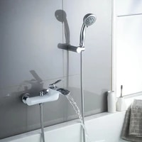 vidric brass bath shower faucet chrome and white finished wall mounted bathtub faucet exposed bs waterfall bathroom faucet
