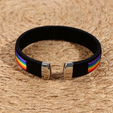 1PCS Charms Open Cuff Braclet Fashion Rainbow String Bangle & Bacelet For Men Women Jewelry