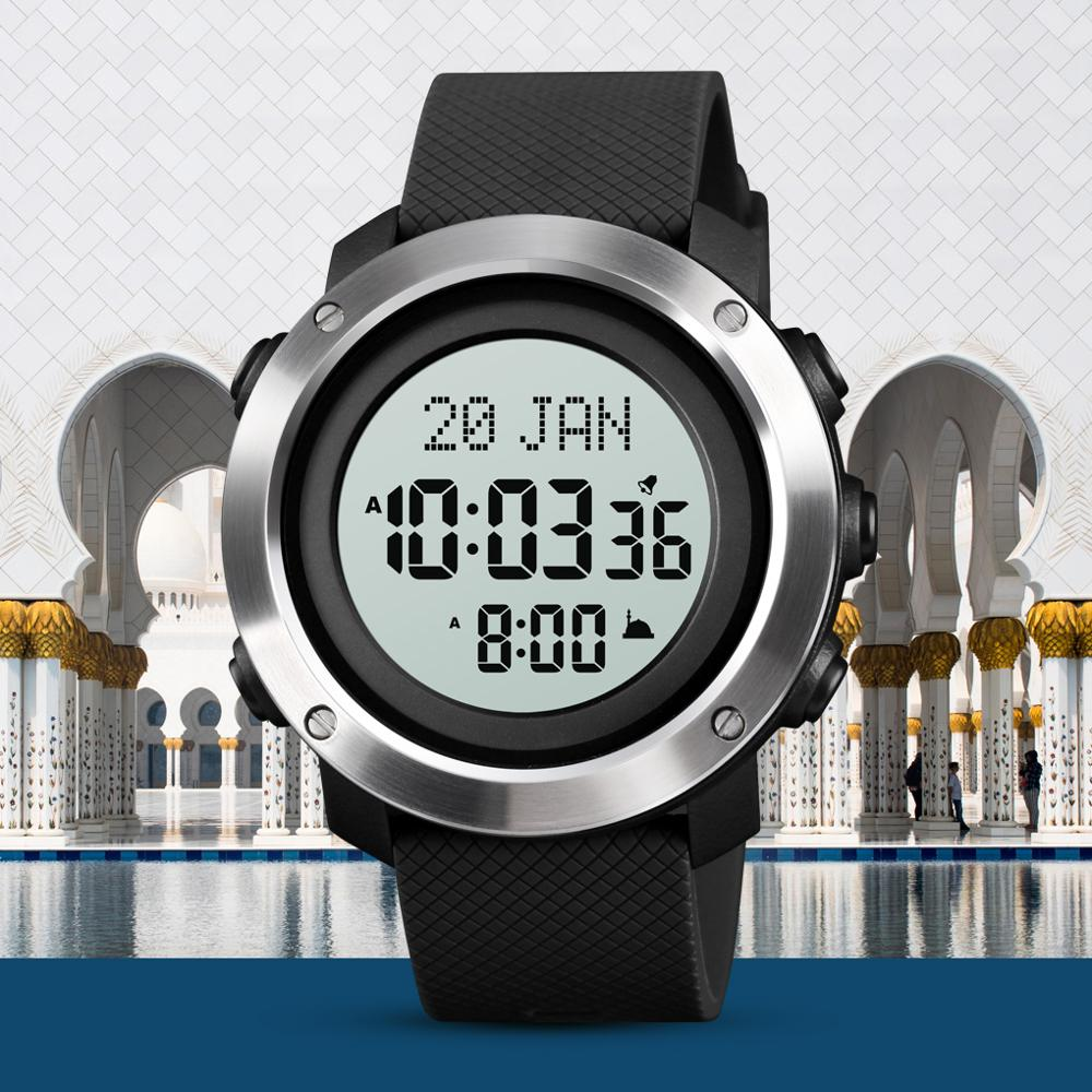 SKMEI Muslim Watch Azan Clock for Prayer with Qibla Compass Adhan Alarm Hijri Calendar Islamic Al Harameen Fajr Time Wristwatch