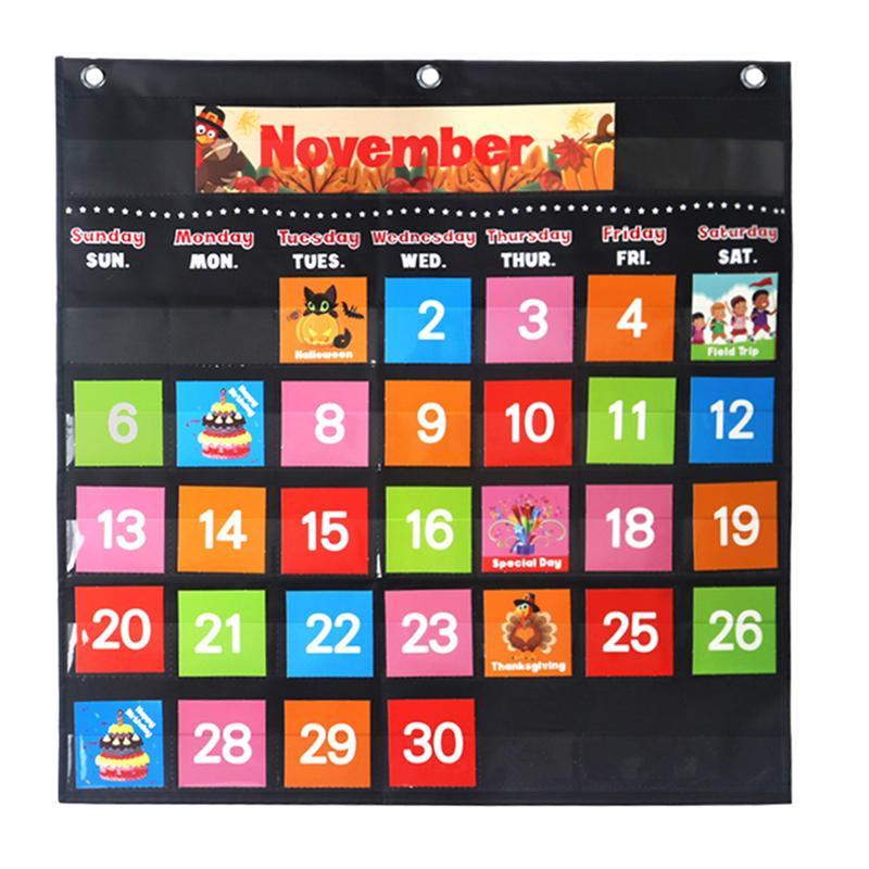 1 Set Portable Wall Hanging Calendar Preschool Learning Toys Classroom Calendar