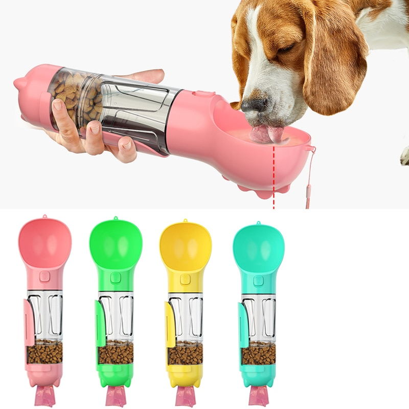 3 en 1, botella de agua para perros, botella de agua portátil para mascotas, para perros, para viaje, para cachorros, gatos, cuenco para beber, dispensador de comida al aire libre, herramienta para mascotas