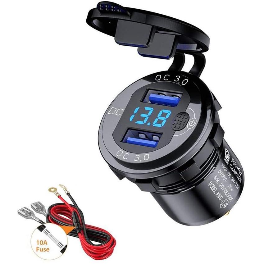 Быстрая зарядка 3,0 36 Вт автомобильное зарядное устройство с двумя USB-портами QC3.0 водонепроницаемое быстрое зарядное устройство для мотоцикл...