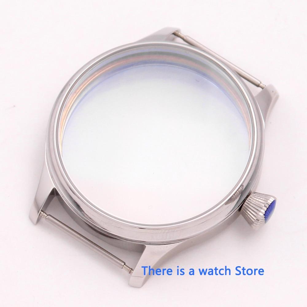 Caja de acero inoxidable 44mm Corgeut 316L compatible con ST36 ETA 6497 6498 caja de reloj de movimiento mecánico
