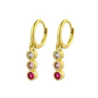 new fashion gradient zircon pendant hoop earrings for women redpink crystal small huggies cute earring piercing hoops jewelry