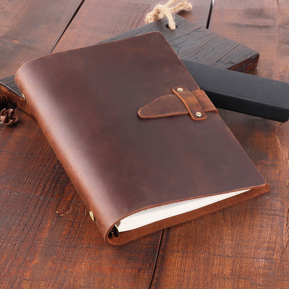Genuine Leather Journal Dairy Notebook A5 Binder Planner Organizer Spiral 6 Rings Vintage Note Book Business Handbook Notepad