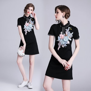 Spring and summer new style slim fashion embroidered bag hip dress European and American fashion women's clothing