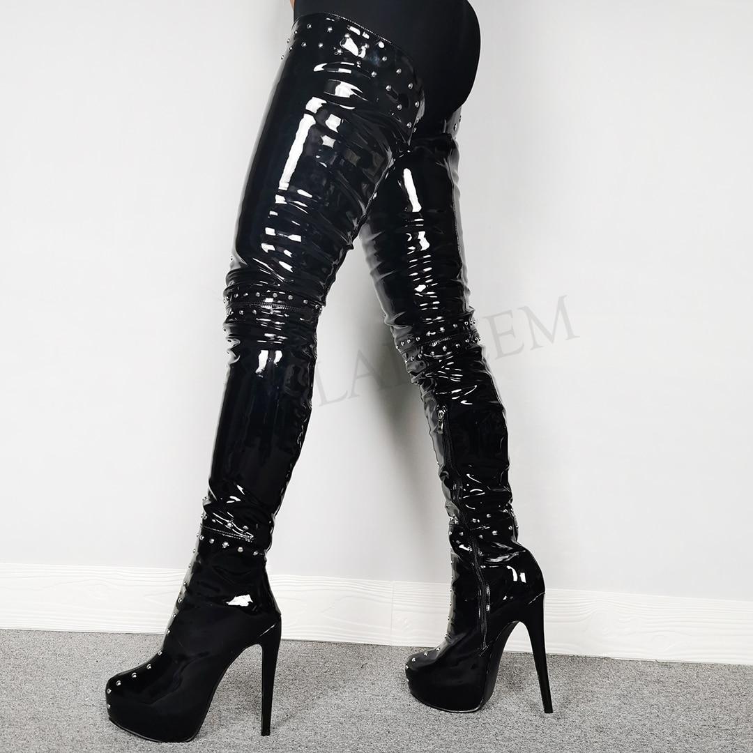 LAIGZEM-حذاء نسائي ذو نعل سميك عالي الفخذ ، أحذية نسائية ، أحذية فوق الركبة ، مقاس كبير 50 51 52