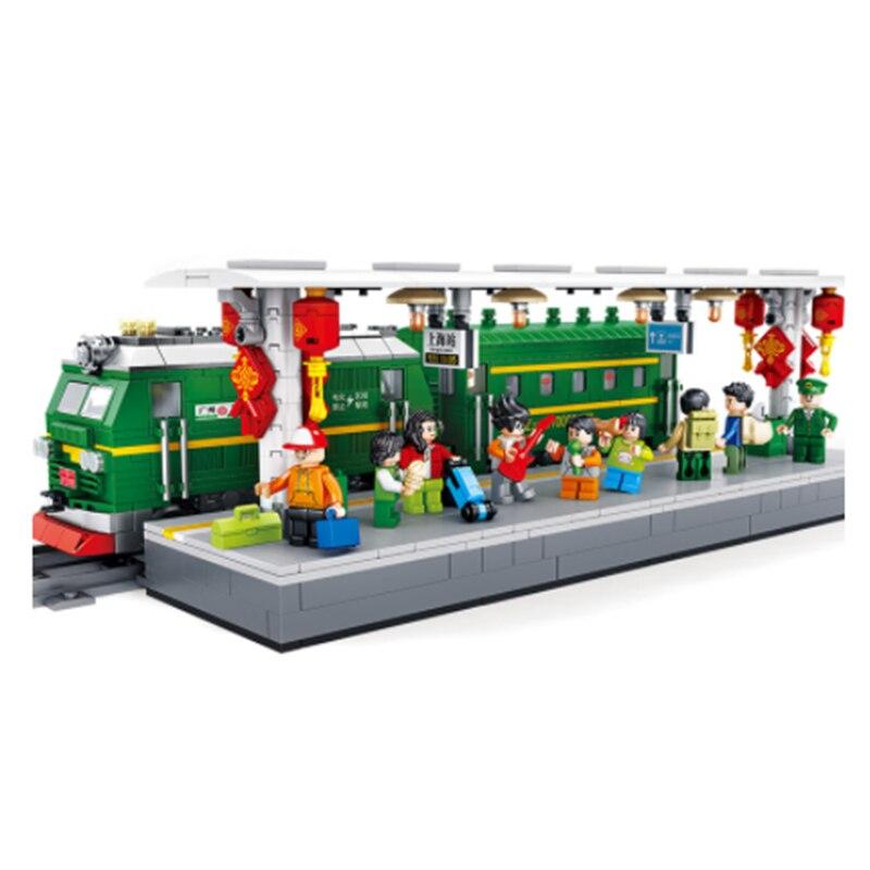 610008 Creator Frühling Festival Serie Grün zug ShangHai Eisenbahn Station Modell Bausteine Ziegel geburtstag Geschenke Junge Spielzeug