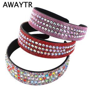 AWAYTR Crystal Headbands Fashion Hair Hoop Bands Bezel Luxurious Rhinestones Plastic Hairbands Women Hair Accessories Headdress