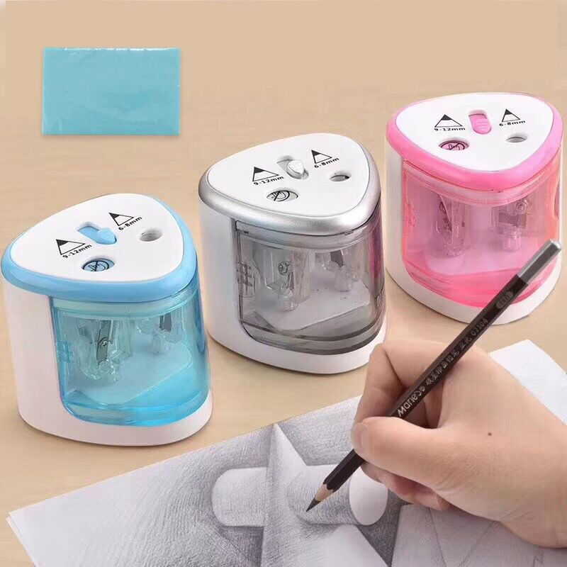 2018 New Automatic pencil sharpener Two-hole Electric Switch Pencil Sharpener stationery Home Office