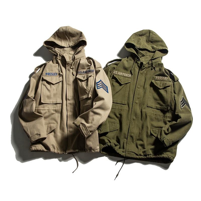 TOTURN Military Casual Men Hooded Jacket Loose Fleece Coat Homme Cotton Pilot Army Jackets Khaki ArmyGreen USA Air Force Parka