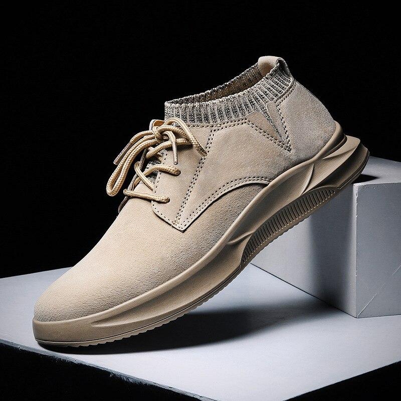 QWEDF Zapatos informales para Hombre de algodón primavera encaje de otoño-up Zapatos de tobillo de estilo alto para hombres jóvenes Zapatos de moda Top Hombre X6-33