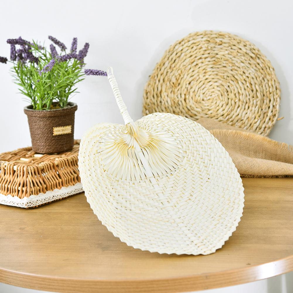 Pure Handmade DIY Heart Shaped Bamboo Woven Fan Summer Cooling Featured Peach-shaped For Home Decor