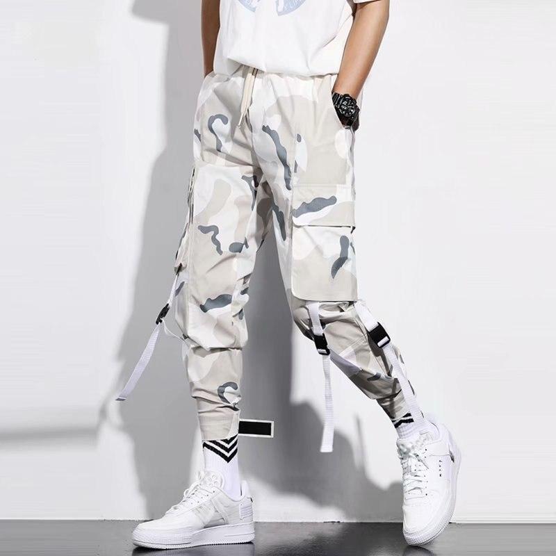 Камуфляжные брюки-карго HOUZHOU для бега, мужские камуфляжные брюки, мужские брюки-карго, мужские повседневные джоггеры, летняя Корейская улич...