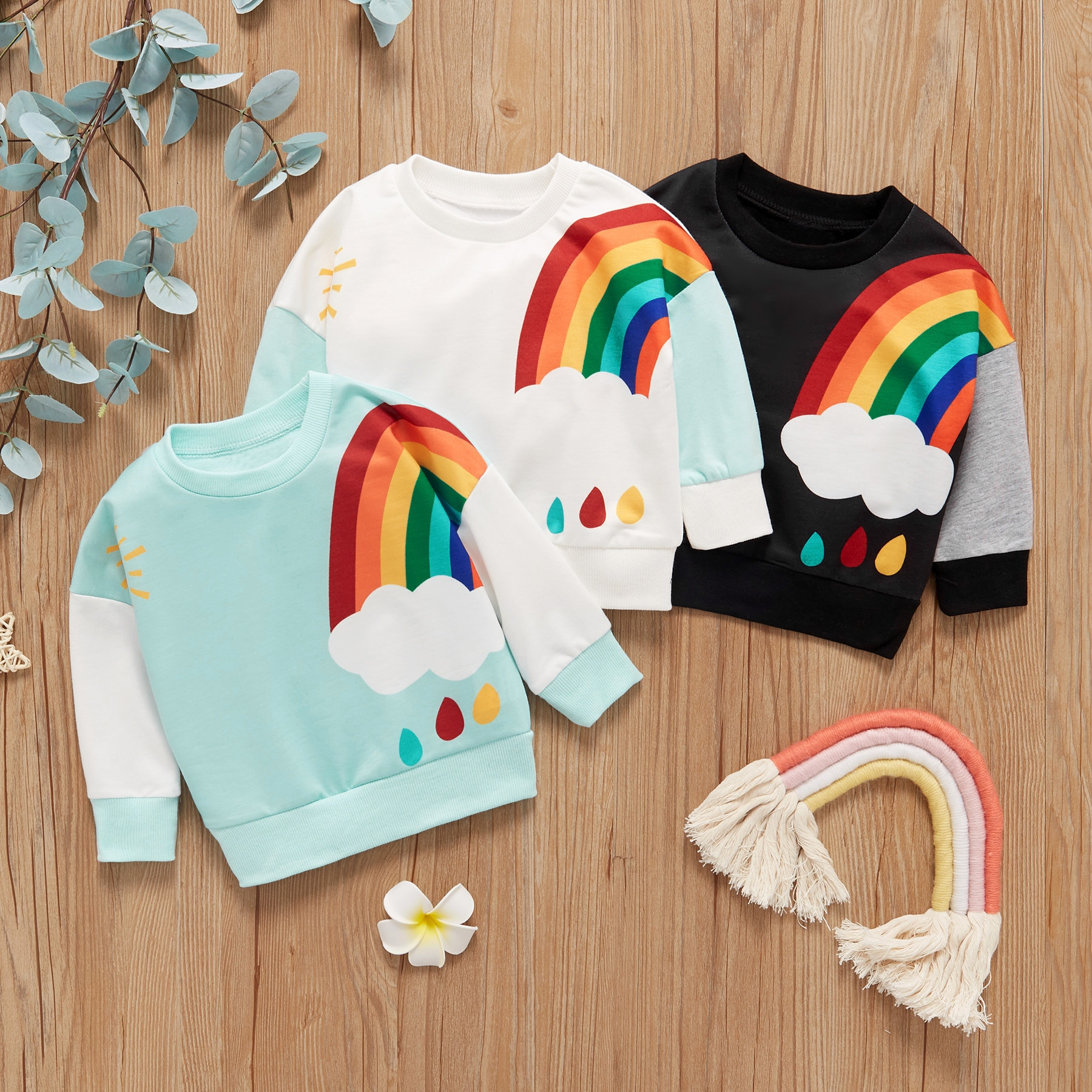 Baby Sweater Colorful Rainbow Cartoon Pattern Long-sleeved Baby Pullover Sweater Autumn And Winter J