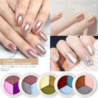 3colorsbox solid magic mirror effect nail powder shiny nails glitter dust holo nail art chrome pigment aurora manicure designs