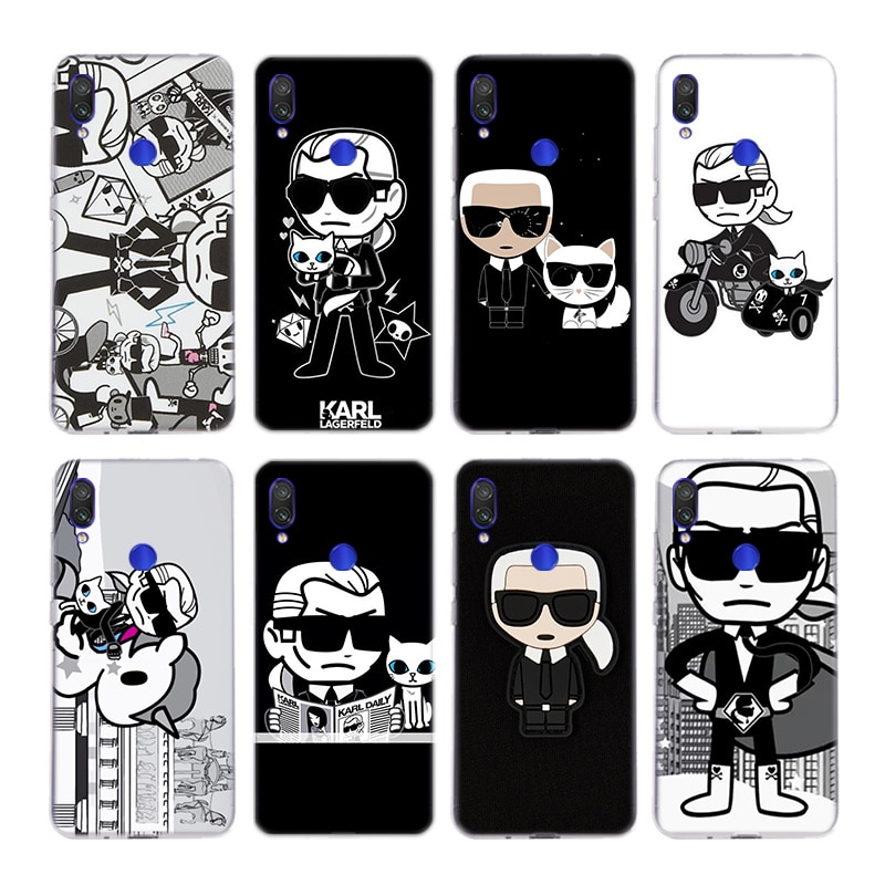 Lagerfeld marca diseñador dibujos animados personaje Fundas Silica caso para Xiaomi Nota 10 9 8 lite A3 5X 6X CC9 CC9E 9SE 8SE 9T pocofone