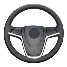 Housse de volant de voiture en cuir artificiel noir pour Opel Astra (J) 2010-2015 Ampera 2012-2015 Meriva (B) 2010-2017 Zafira