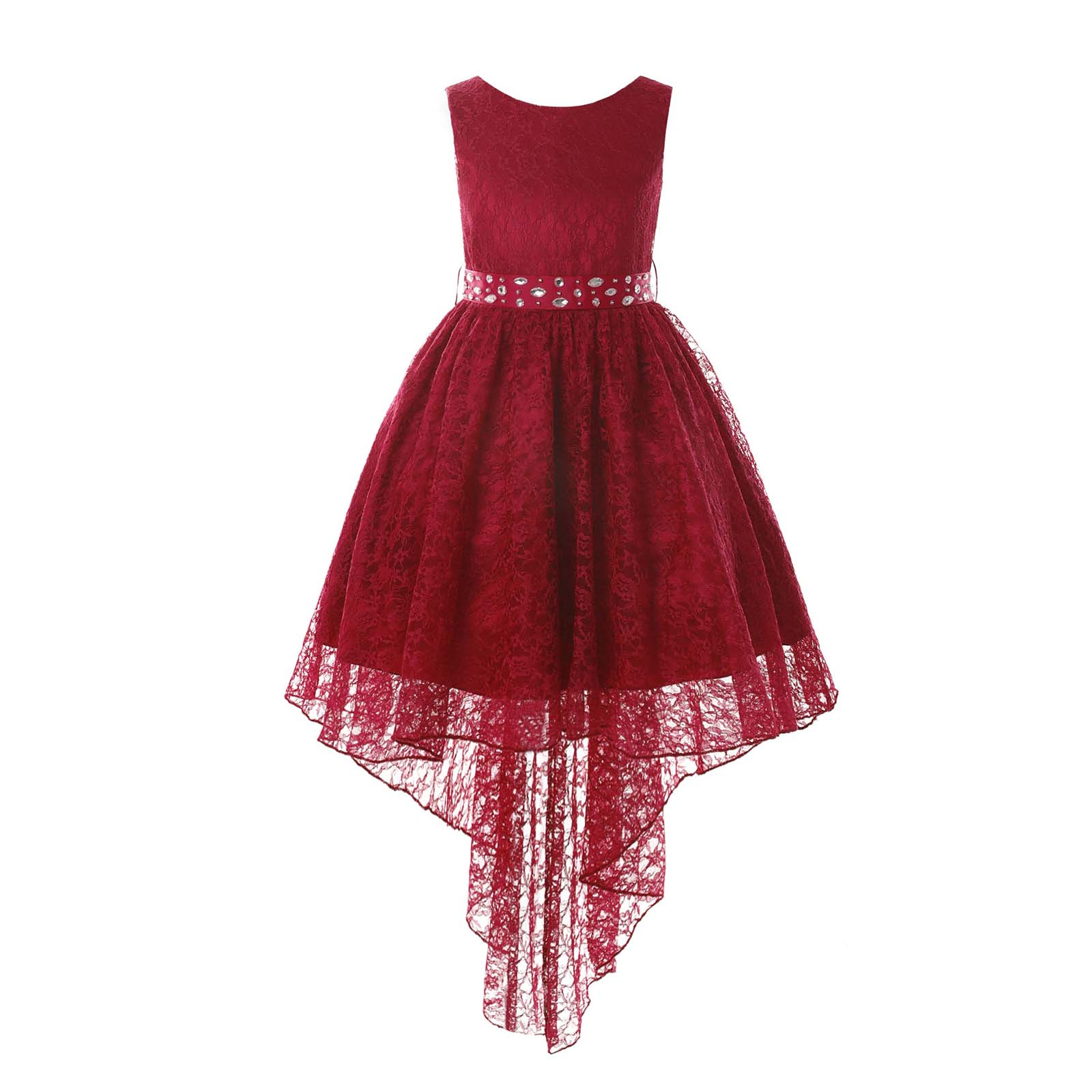 2021 Princess Girls Lace Pageant Dress Kids High Low Embroidered Dress Birthday Wedding Party Flower Girl Dresses Girl's Clothes