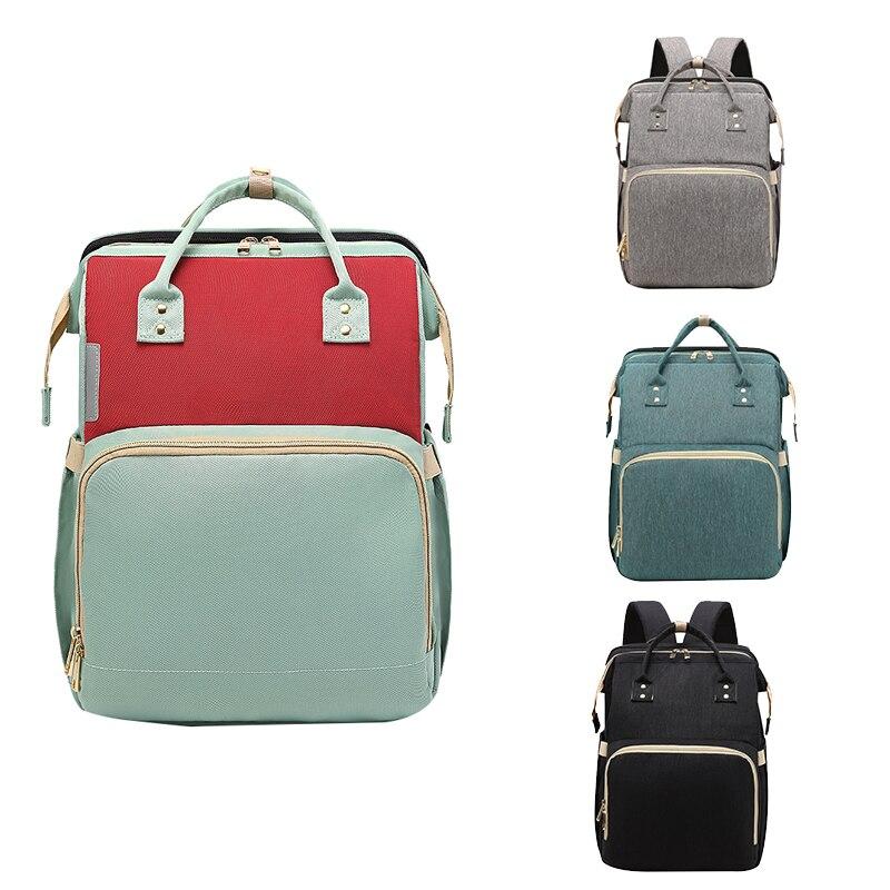 Mochila para bebé mamá, conversión plegable, ligera, bolsa de pañales para bebés, cama multifuncional de viaje, bolsa de almacenamiento, cuna