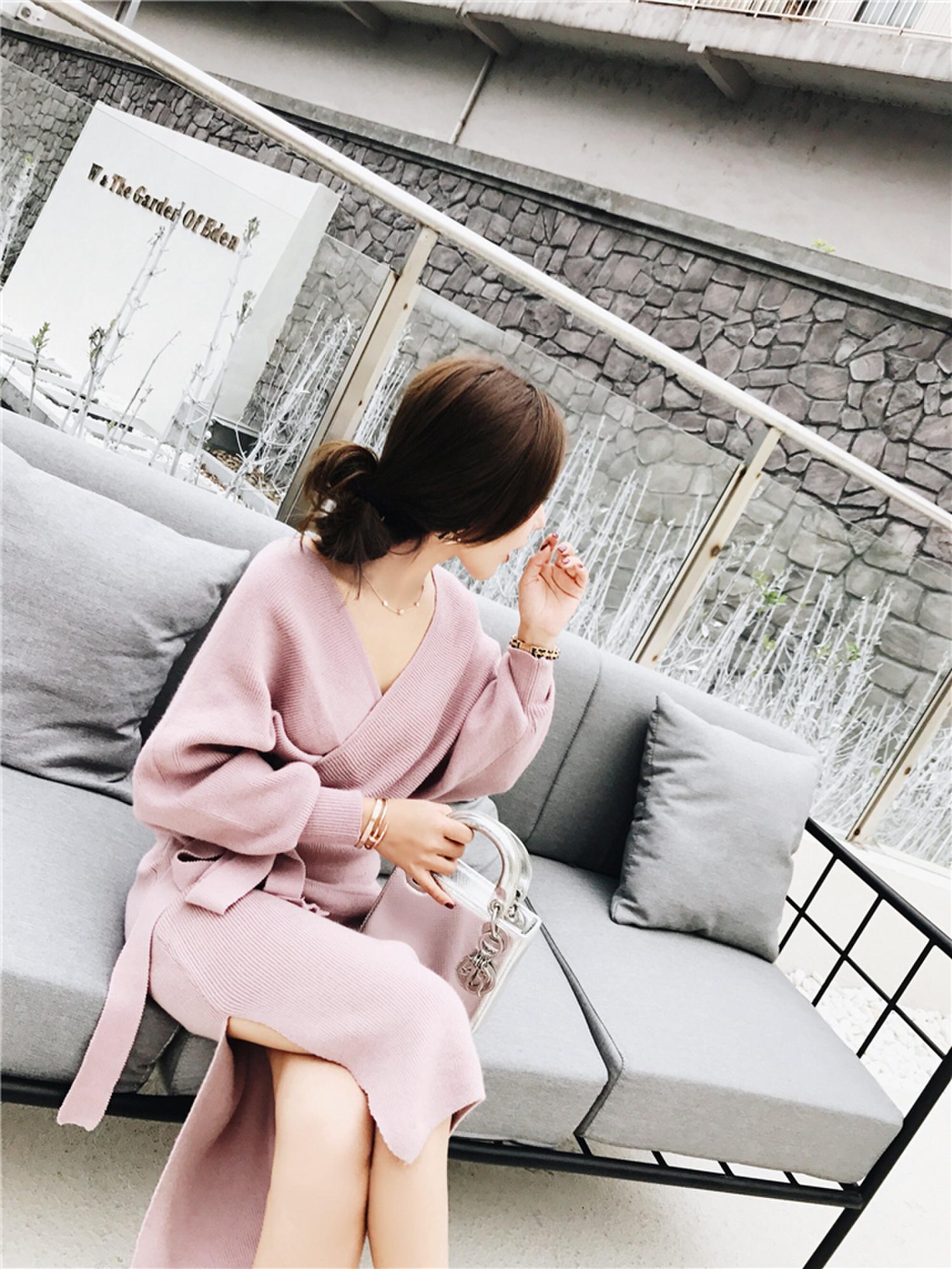 Magro V neck Robe Femme Vestido Moda Lace-up Vestido Famale Outono Inverno Vestidos Longos Da Luva das Mulheres OL elegante Vestido de tricô