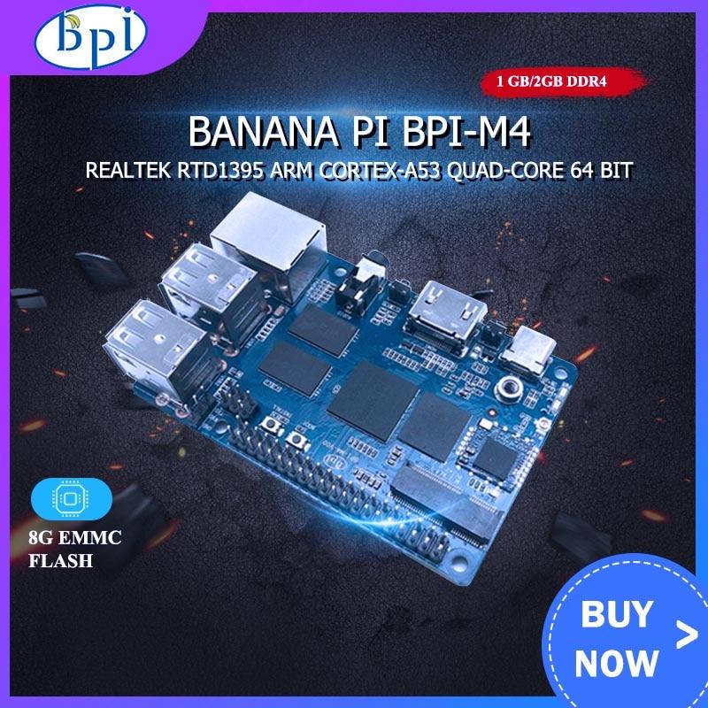 Banana Pi BPI M4 1GB/2GB RAM Realtek RTD1395 ARM 64 poco Placa de extensión TF Tarjeta de apoyo 8G EMMC WiFi 802.11b/g/n Bluetooth