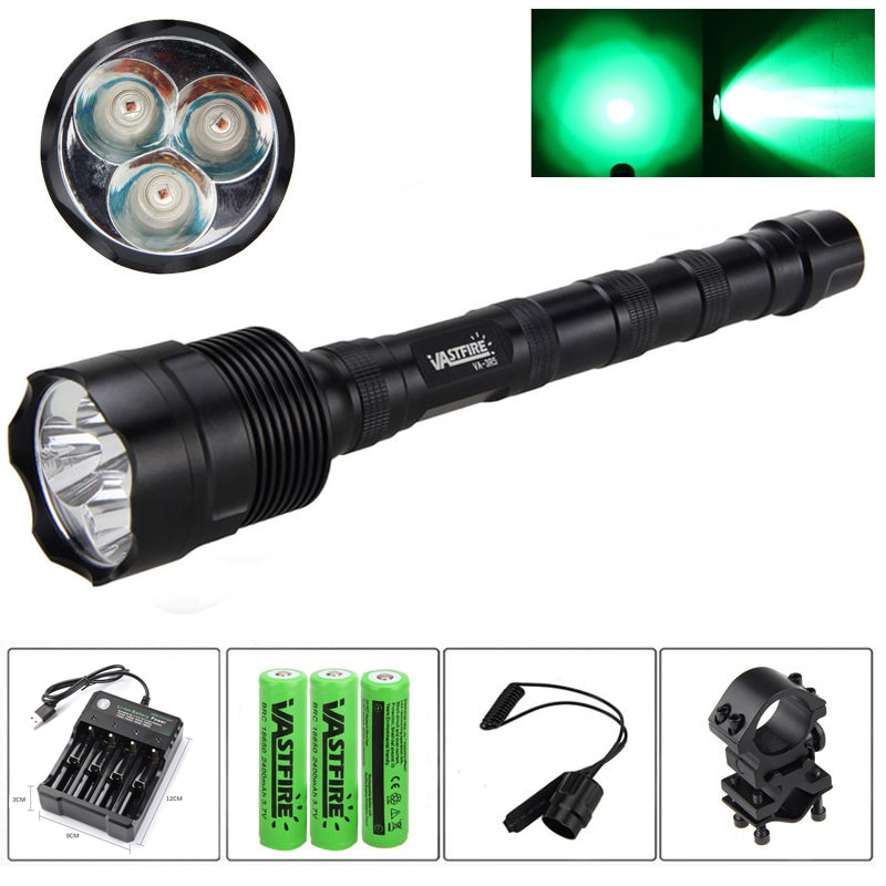 10000 Lumens 3xQ5/T6 Green/Red/White LED Flashlight 1 Modes Tactical Hunting Light+Rail Mount+Remote Switch+3*18650+USB Charger enlarge