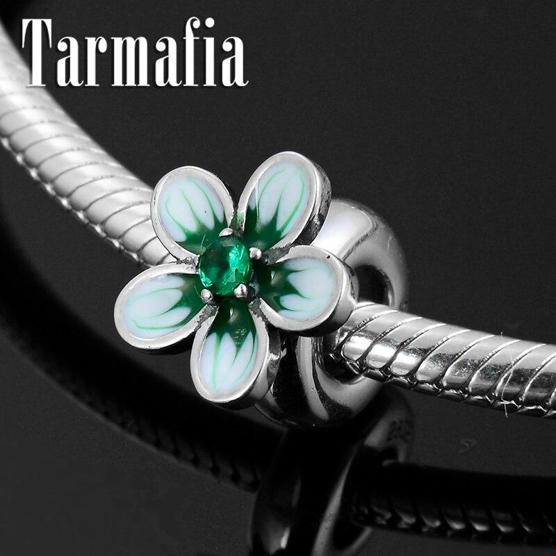Hot 925 Sterling Silver Luxury Green CZ Flower Enamel Spacer Stopper beads Fit Original Pandora Charm Bracelet Jewelry making