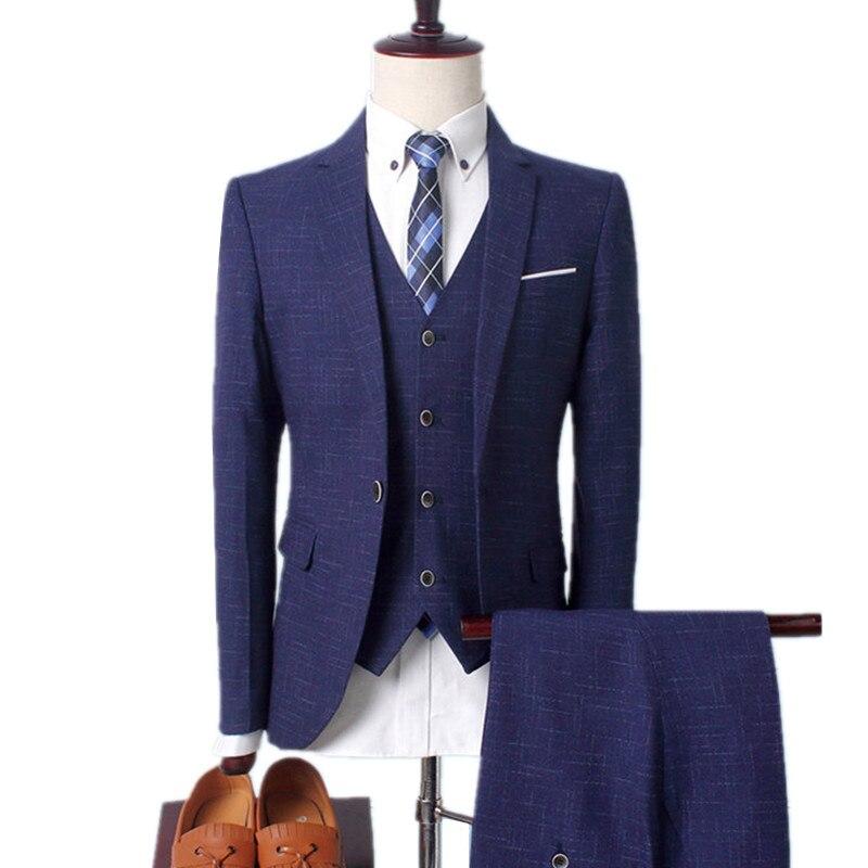 3 Stuks Sets Blazers Jas Broek Vest Pakken/2020 Boutique Men Casual Business Bruiloft Bruidegom Plaid Jas Broek vest