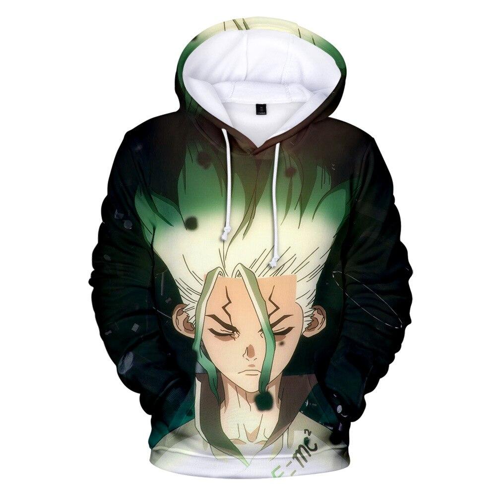 Unisex anime dr. pedra senku ishigami cosplay trajes zíper com capuz 3d impresso jaqueta moletom streatwear manga longa casaco