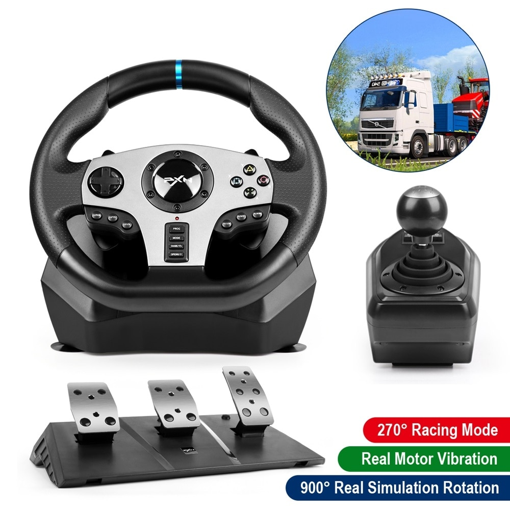 Pedal Gaming Steering Wheel Gamepad Racing Manual Transmission Vibration PXN V9Pro For PC/PS/Xbox-One/Switch 900° Degree