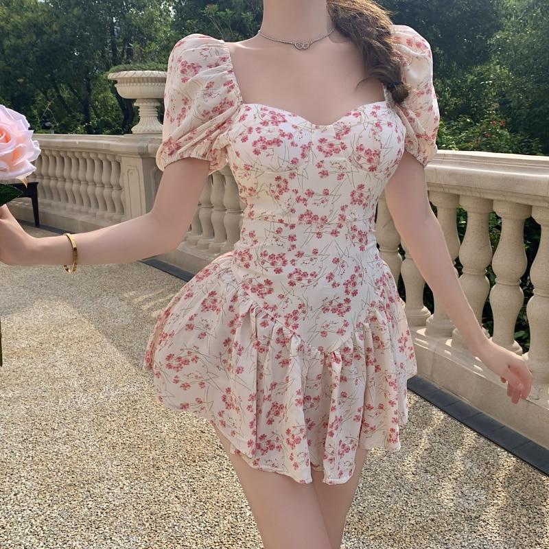 С короткими рукавами и цветочным узором; Платье из джинсовой ткани мини сексуальное женское платье с рукавами-фонариками, Ретро стиль, обле...