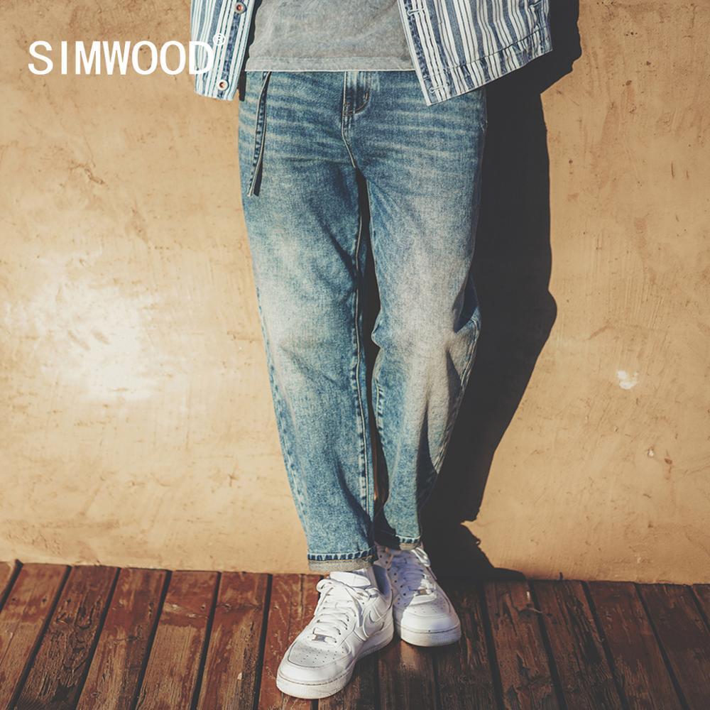 SIMWOOD-بنطلون جينز رجالي مغسول ، سميك ، قطن ، مدبب ، طول الكاحل ، مقاس كبير ، ربيع وشتاء 2021 ، SJ120764